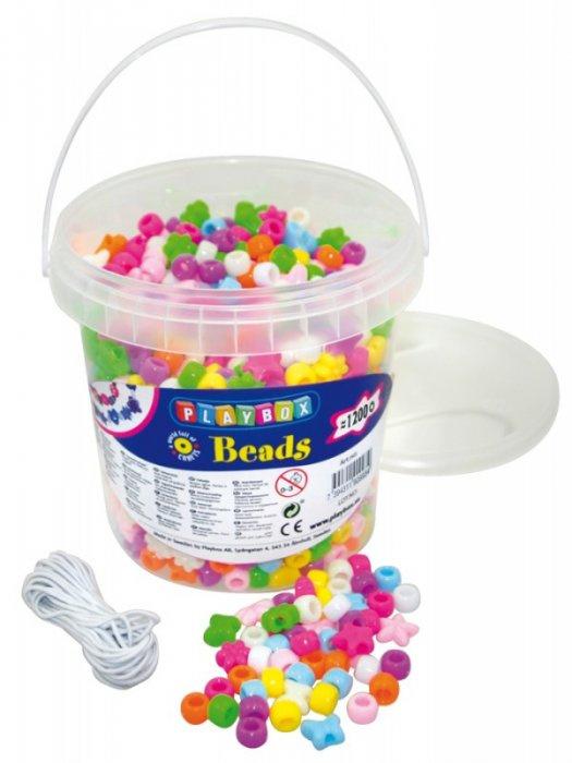 Korálky plastové různé tvary v kbelíčku- 1200 ks
