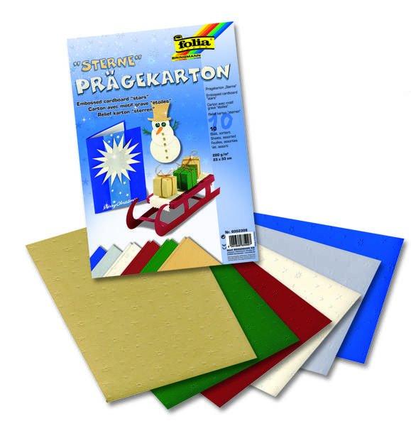 Vytlačované papíry vánoční 23x33 cm - hvězdy 10 listů, 220g, 23x33 cm