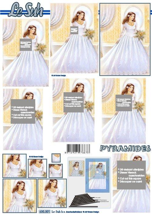 3D papíry pro vystřihování- Nevěsta- pyramida