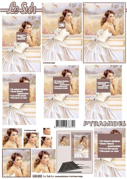 3D papíry pro vystřihování- Nevěsta 2- pyramida