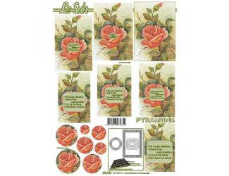 3D papíry pro vystřihování- Růže 2- pyramida