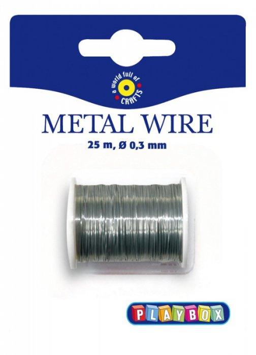 Drátek stříbrný na cívce- 25m x 0,3mm