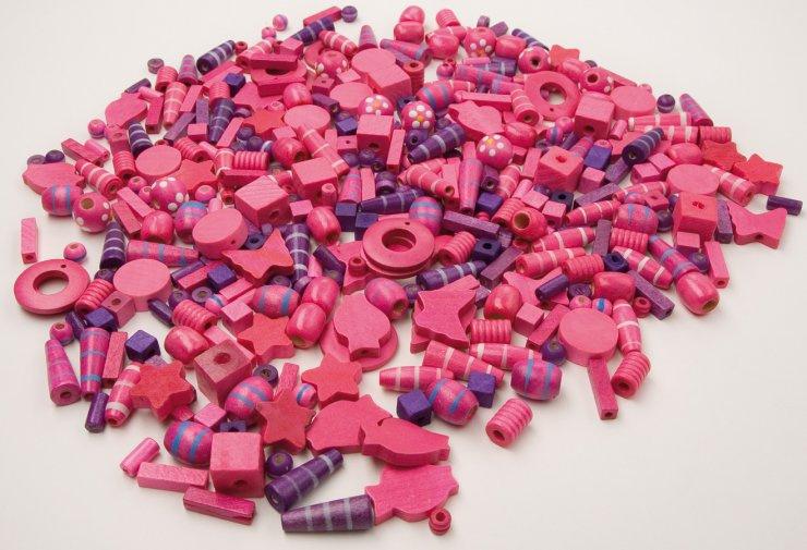 Korálky dřevěné big- 1000ks růžovofialové