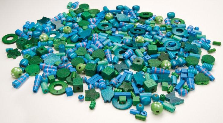 Korálky dřevěné big- 1000ks modrozelené