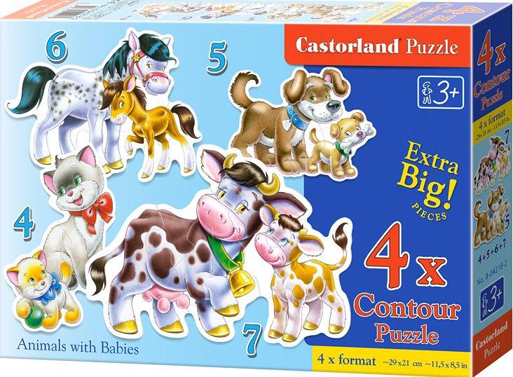 Puzzle Castorland sada 4v1 - Domácí zvířata- sada 4,5,6 a 7 dílků- pro nejmenší děti