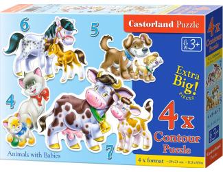 Puzzle sada 4v1- Domácí zvířata- sada 4,5,6 a 7 dílků- pro nejmenší děti