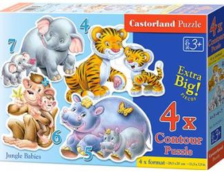 Puzzle sada 4v1- Zvířátka ZOO- sada 4,5,6 a 7 dílků- pro nejmenší děti