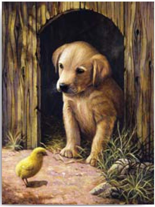 Malování podle čísel- Pejsek s kuřátkem