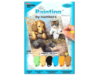 Malování podle čísel mini- Pejsek s kočkou