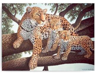 Malování podle čísel 40x 30cm - Leopard s mláďaty