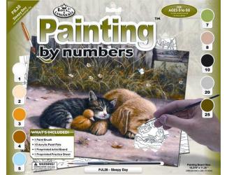 Malování podle čísel- Spící pes s kočkou
