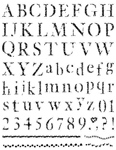 Gelová razítka- Abeceda, čísla, bordury
