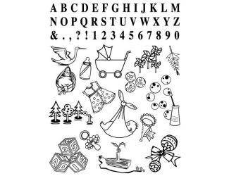 Gelová razítka- Narození dítěte s abecedou a čísly