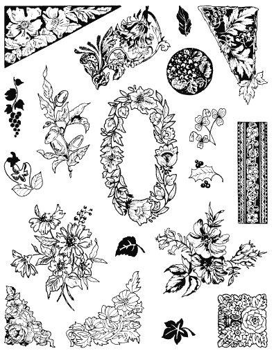 Gelová razítka- Květiny- bordury