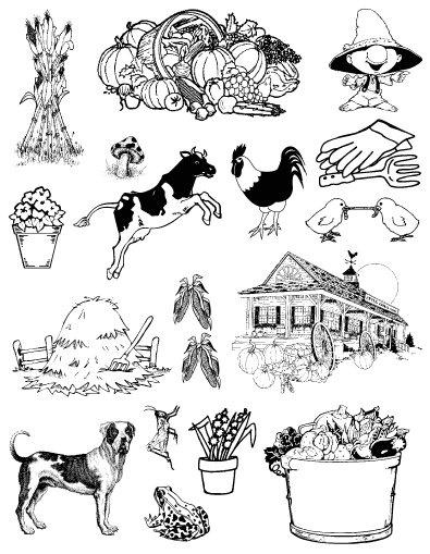 Gelová razítka- Farma- kukuřice
