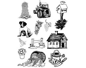 Gelová razítka- Farma- traktor