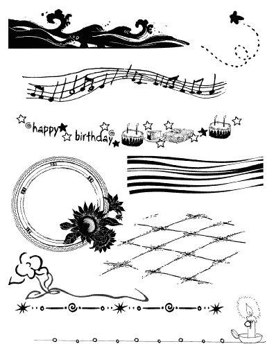 Gelová razítka- Bordury narozeniny