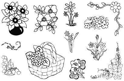 Gelová razítka- Květiny