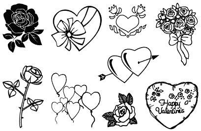Gelová razítka- Srdíčka a květiny