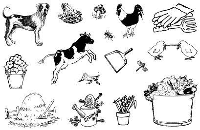 Gelová razítka- Farma pes