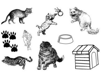 Gelová razítka- Kočky