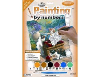 Malování podle čísel- Kočičky u košíku