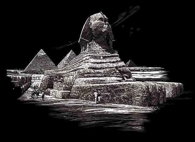 Seškrabovací obrázek- Sfinga pyramida