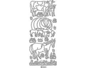 Obrysové samolepky- Kráva, ovce, kůň- zlaté