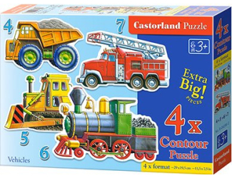 Puzzle sada 4v1- Auta- sada 4,5,6 a 7 dílků- pro nejmenší děti