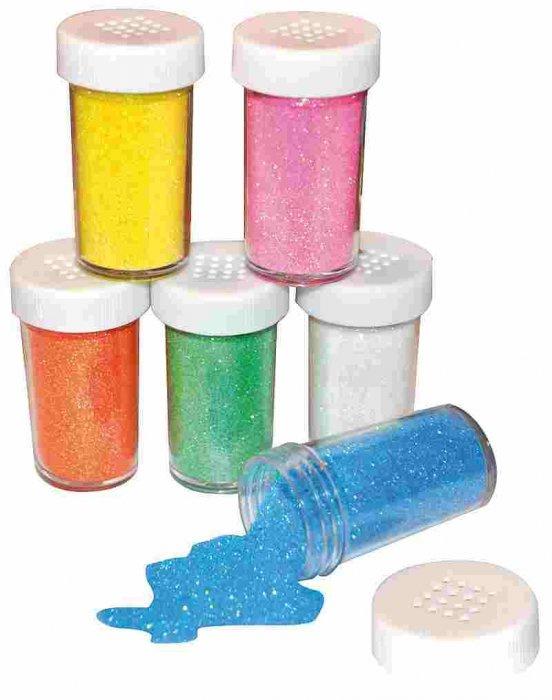 Barevný třpytivý písek jemný- velké balení 6ks á 20g