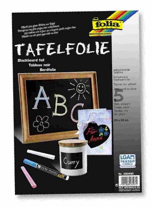 Folie- černá tabule 5 listů 23x33cm, samolepící