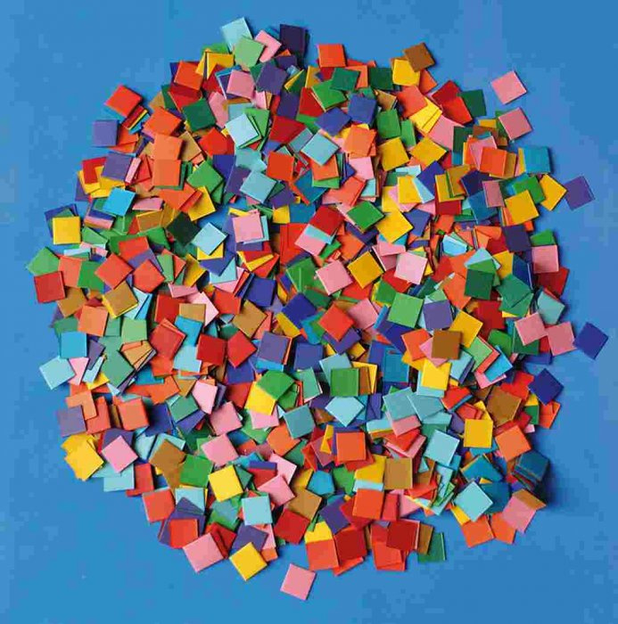 Papírová mozaika- barevné čtverečky- maxi balení- 10 000 ks, 1x1 cm