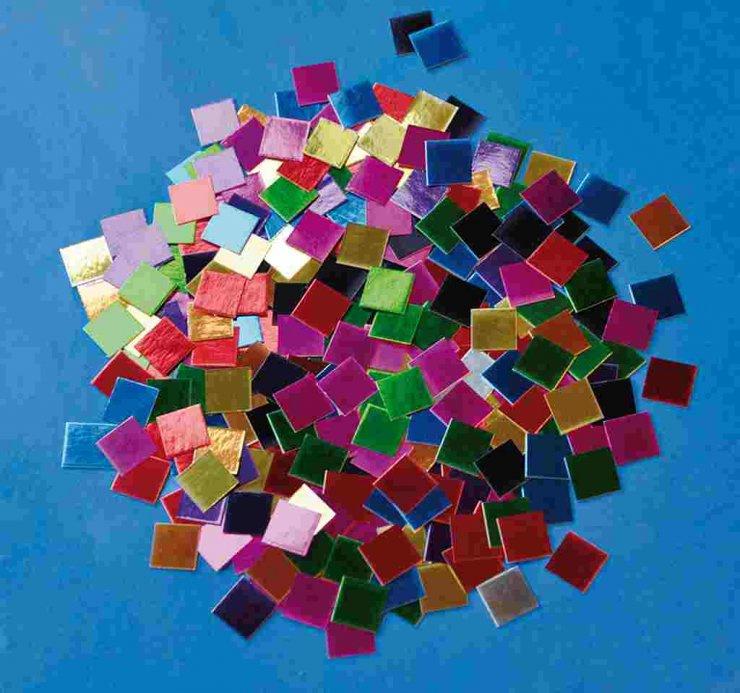 Papírová mozaika- metalické lesklé čtverečky- maxi balení- 10 000 ks, 1x1 cm