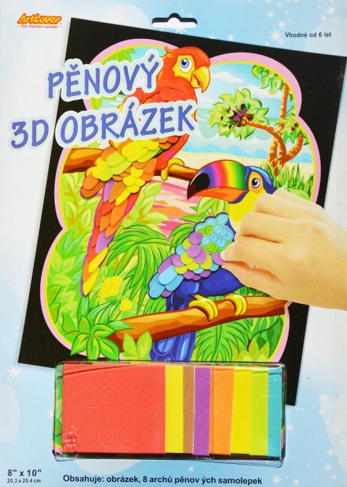 Pěnový 3D obrázek - Papoušci