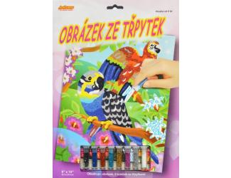 Obrázek ze třpytek - Papoušci