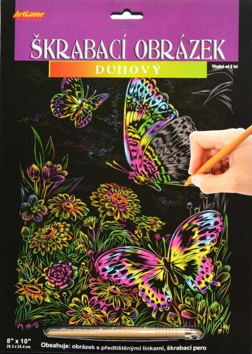 Škrabací obrázek - duhový - Motýli