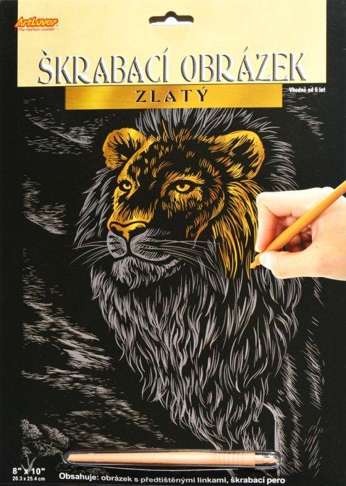 Vyškrabovací obrázek zlatý - Lev