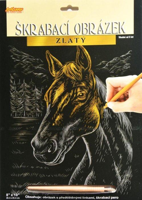 Vyškrabovací obrázek zlatý - Kůň