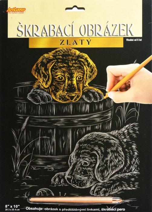Škrabací obrázek zlatý - Psi