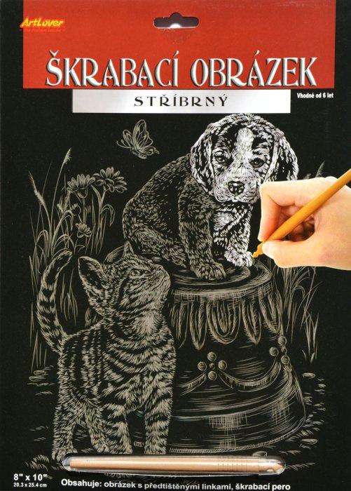 Škrabací obrázek stříbrný - Kotě a štěně