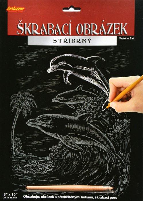 Škrabací obrázek stříbrný 20 x 25 cm- Delfín