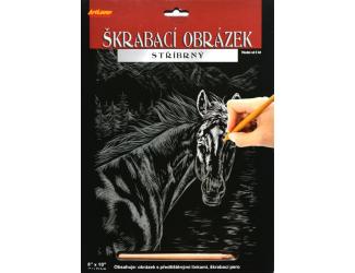 Škrabací obrázek stříbrný 20 x 25 cm- Kůň