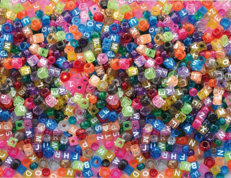Plastové korálky a korálky kostičky písmena 1000ks