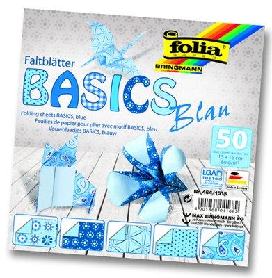 Papíry na skládání Origami, 50 listů, 15x15 cm, 80g - modré