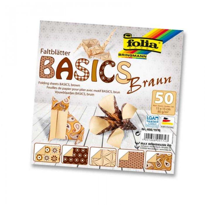 Papíry na skládání Origami, 50 listů, 15x15 cm, 80g – hnědé