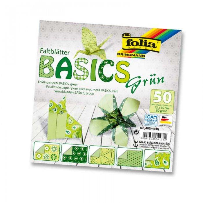 Papíry na skládání Origami, 50 listů, 15x15 cm, 80g - zelené