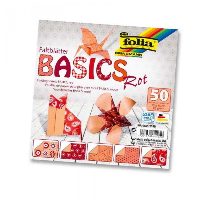 Papíry na skládání Origami, 50 listů, 15x15 cm, 80g – červené