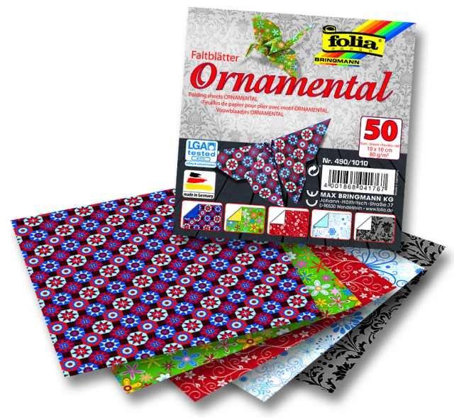 Papíry na skládání Origami, 50 listů, 15x15 cm, 80g – ornamental