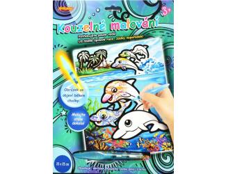 Kouzelné malování - ŠTĚTCEM NAPLNĚNÝM VODOU delfíni
