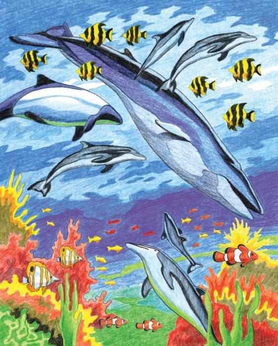 Malování podle čísel PASTELKAMI - Delfíni